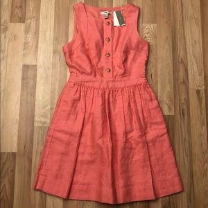 J. Crew Button Front Linen Blend Fit Flare Dress